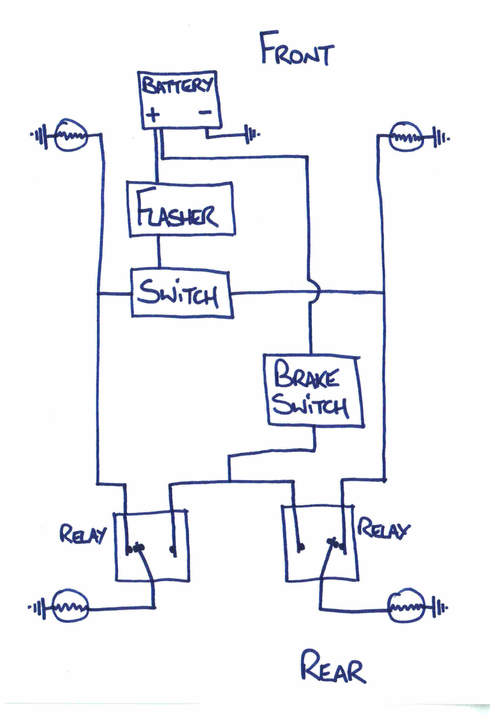 modern flasher circuits if it would be possible to share the brake lamp filament indicators i am no electrician so please excuse the poor diagram and explanation